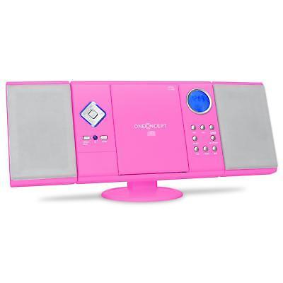 STEREO ANLAGE HIFI MUSIK SYSTEM USB SD MP3 CD PLAYER RADIO TUNER UHR WECKER PINK