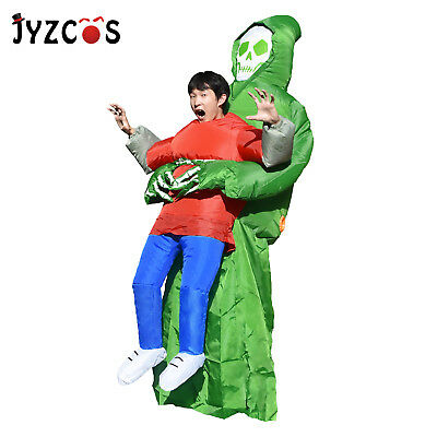 Women Scary Kids Halloween Costumes Inflatable Skeleton Jumpsuit Blow Up Dress