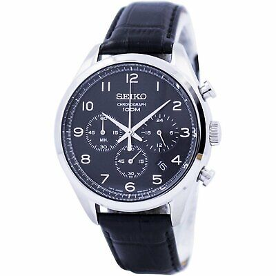 Seiko SSB231 45MM Men's Chronograph Black Leather Watch