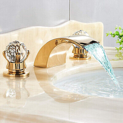 """8"""" Widespread LED Waterfall Bathroom Sink Faucet 2 Handle 3-Hole Basin Tap Gold"""