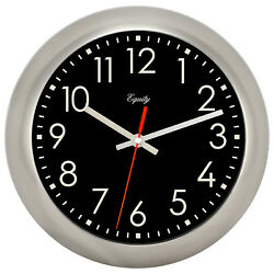 20802 Equity by La Crosse 11 Brushed Metal Silent Sweep Analog Wall Clock