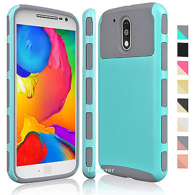 Hybrid Rubber Armor Shockproof Defender Case Cover for Motorola Moto G4/G4 (Best Moto G4 Cases)