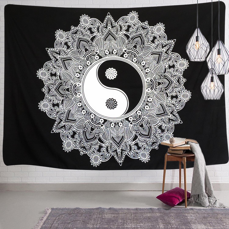 Large Yin Yang Tapestry Mandala Wall Hanging Indian Black White ...