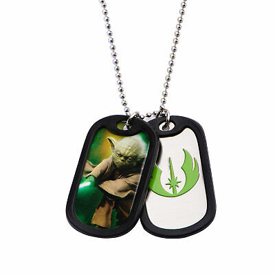 STAR WARS YODA SYMBOL DOG TAG PENDANT WITH CHAIN NECKLACE
