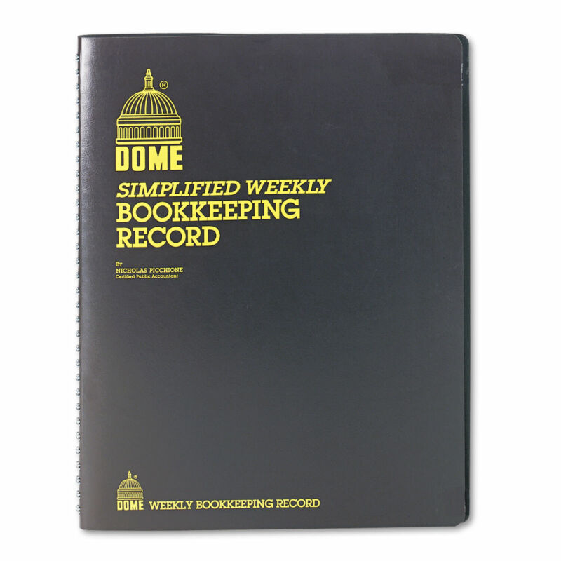 Dome Bookkeeping Record Brown Vinyl Cover 128 Pages 8 1/2 x 11 Pages 600
