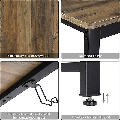 55″ Industrial Computer Desk for Home Office, Wood Study Writing Desk Furniture