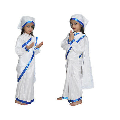 Halloween Mother Teresa National Hero Costume For Kids School Annual function