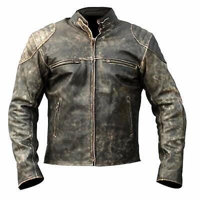 Mens Antique Brown Vintage Distressed Retro Motorcycle Biker Leather Jacket