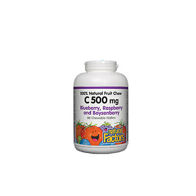 - Natural Factors Vitamin C 500mg, 100% Natural Fruit Chew, 90 Chewable Wafers