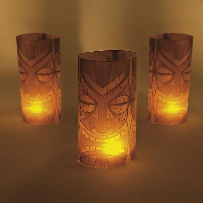 Luau Party Decorations (3 Tiki Luminary Wraps Luau BIRTHDAY Party Beach Pool Tropical Tribal)