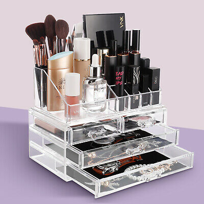 Makeup Acrylic Box Cosmetic Organizer Case Clear Display Holder Drawers Storage