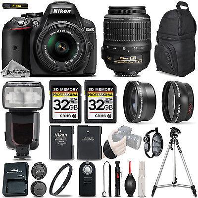 Nikon D5300 Digital SLR Camera Black + 3 Lens: 18-55mm VR II Lens + 64GB Bundle