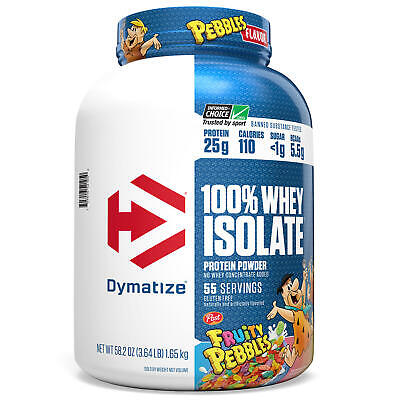 Dymatize 55 Servings 100% Whey Protein Isolate Powder 25g Protein Fruity Pebbles