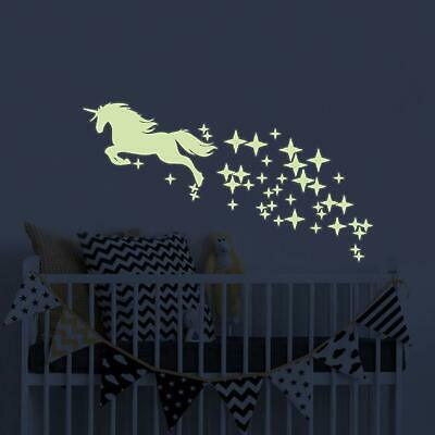 Unicorn Vinyl Wall Decals Glow in The Dark Stars DIY Kids Girls Bedroom