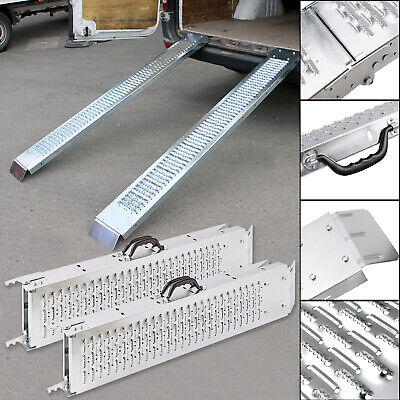 Set of 2 Folding Aluminum Steel Loading Ramp Quad Mower Bike Vehicle Garage Tool