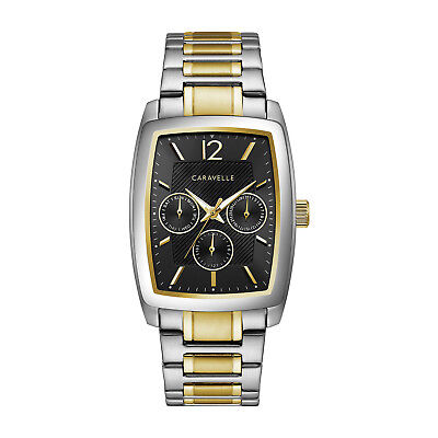 217e4424473 Caravelle Men s Quartz Black Dial Silver and Gold-Tone 34mm Watch 45C113
