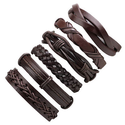 6pcs Brown Braided Leather Bracelet for Men Women Cuff Wrap Wristband Set Gift