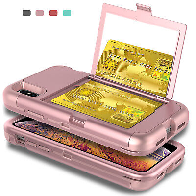 For iPhone XS Max XR Shockproof Case Cover With Mirror Card Wallet Slot -