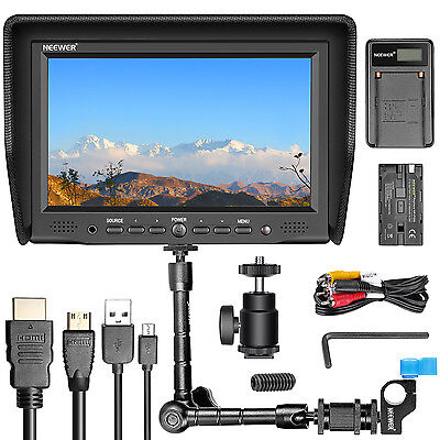 NEEWER NW-708M MONITOR+USB CHARGER+REPLACEMENT F550 BATTERY+11 INCH MAGIC ARM