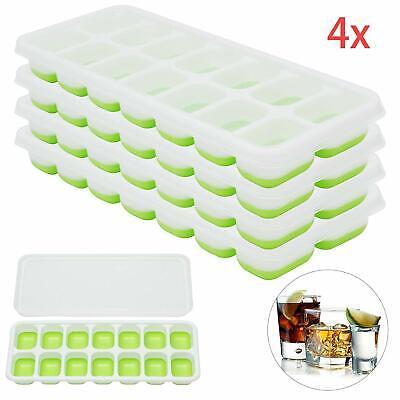 4 Stück Silikon Eiswürfelform Cube Eiswuerfelbehaelter Mit Deckel Ice Tray