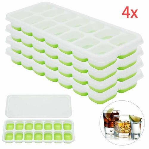 4 Stück Silikon Eiswürfelform Cube Eiswuerfelbehaelter Mit Deckel Ice Tray Ice