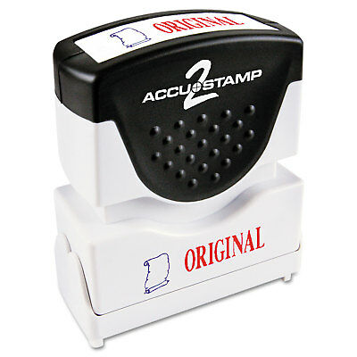 Accustamp2 Pre-Inked Shutter Stamp with Microban Red/Blue ORIGINAL 1 5/8 x 1/2