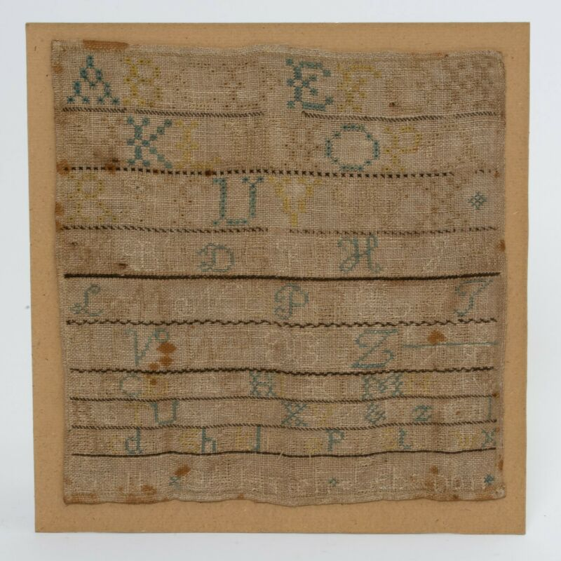 """Antique Cross Stitch Embroidery Sampler Alphabet Letters Numbers Lebanon 10""""x11"""""""