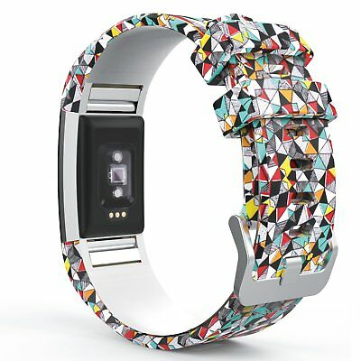 Rainbow Geometry Replacement Watch Band Bracelet + Buckle For Fitbit Charge 2
