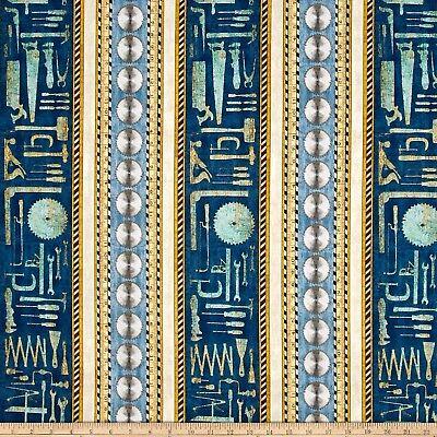 Craftsman Fabric - Tool Saw Blade Stripe Blue Beige - QT Quilting Treasures YARD