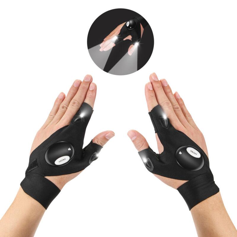 1Pair LED Light Finger Gloves Fingerless Glove Repair Outdoor Flashing Artifact