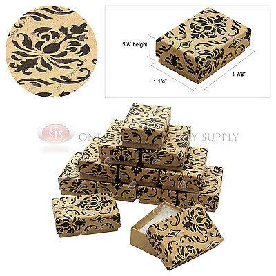 12 Kraft Damask Print Gift Jewelry Cotton Filled Boxes 1 78 X 1 14 X 58
