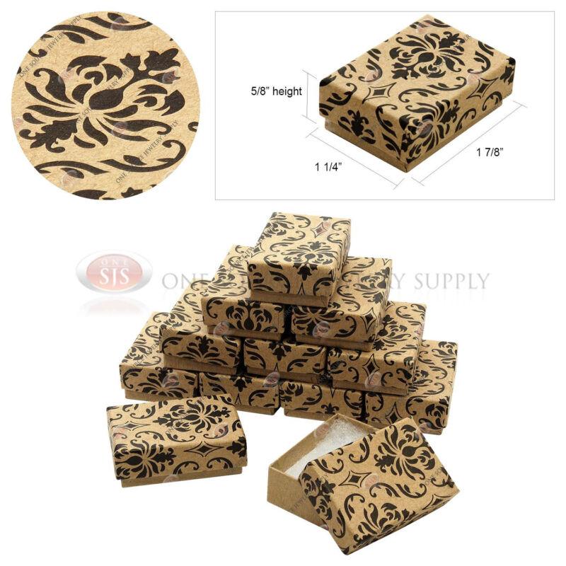 "12 Kraft Damask Print Gift Jewelry Cotton Filled Boxes 1 7/8"" x 1 1/4"" x 5/8"""