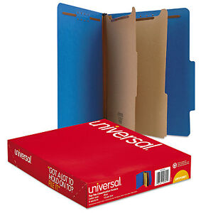 UNIVERSAL Pressboard Classification Folders Letter Six-Section Cobalt Blue 10