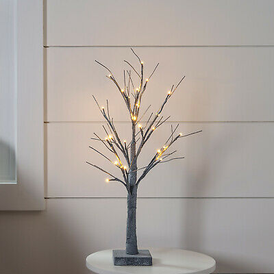 "24"" Battery Operated Grey Pre Lit Christmas Twig Tree Light -"