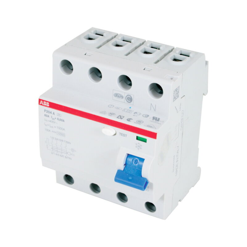 F204A-100/0.03, ABB, Residual Current Device 4P 100A 30MA