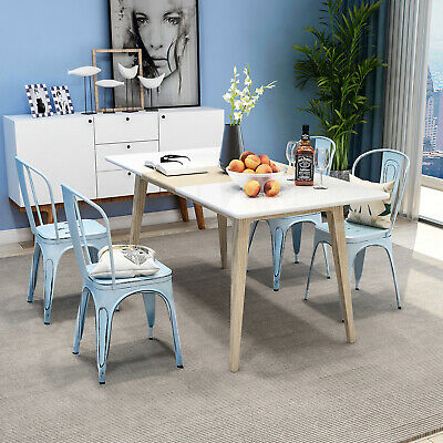 Set of 4 Distressed Style Dining Side Chair Stackable Bistro Cafe Metal Chairs Bistro Style Dining Chair