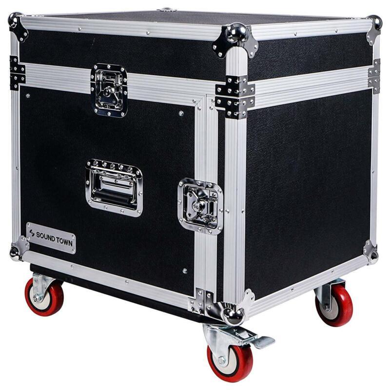 Sound Town 8U PA DJ Rack Road Case w/ 13U Slant Mixer Top Casters STMR-8UW