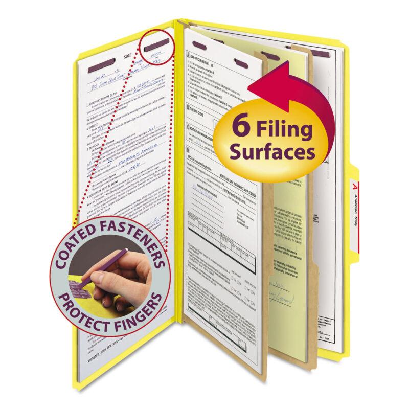 Smead Pressboard Classification Folders Legal Six-Section Yellow 10/Box 19034