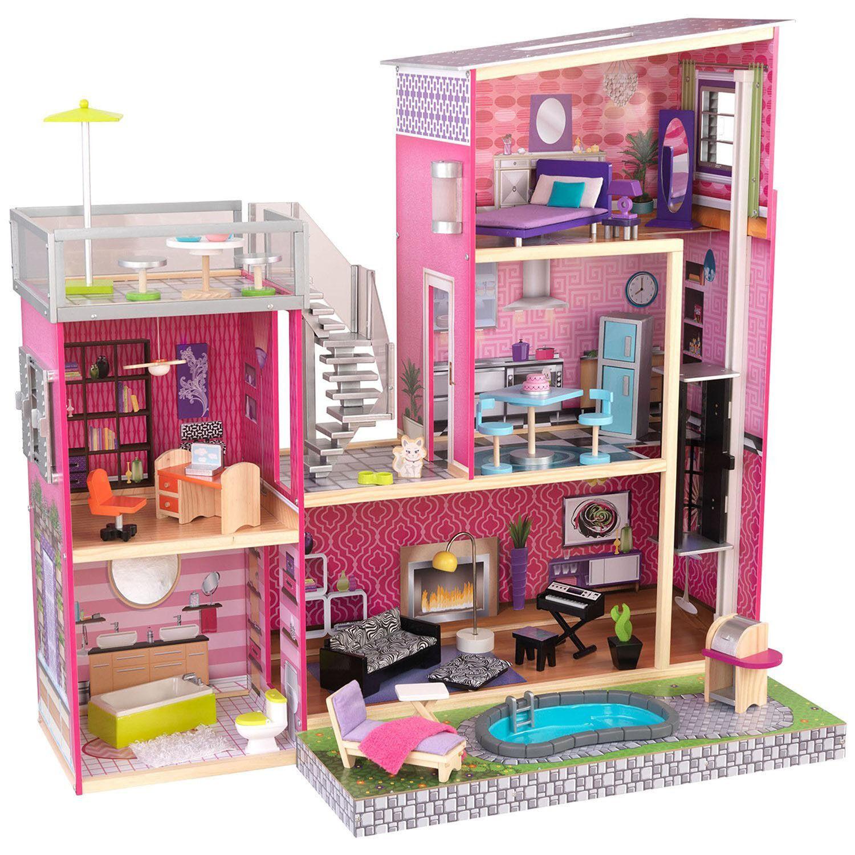 wooden barbie doll furniture. KidKraft Uptown Modern Mansion House Play Wooden Kids Dollhouse Toy W/ Furniture Barbie Doll U