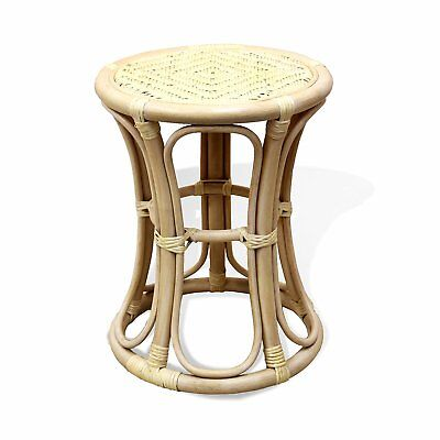 Breeze Rattan Wicker Stool, Plant Stand, Natural Material - Living Room Wicker Bench
