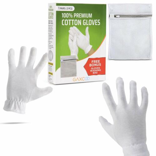 White Cotton Gloves for dry hands, eczema, women, men, cloth gloves, liners