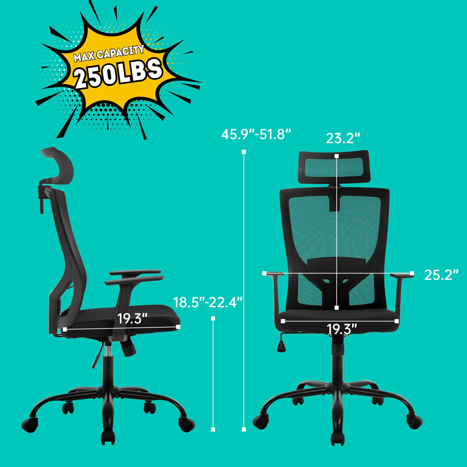 Ergonomic Office Chair  Swivel  Home Office Desk Chair with Head Pillow Business & Industrial