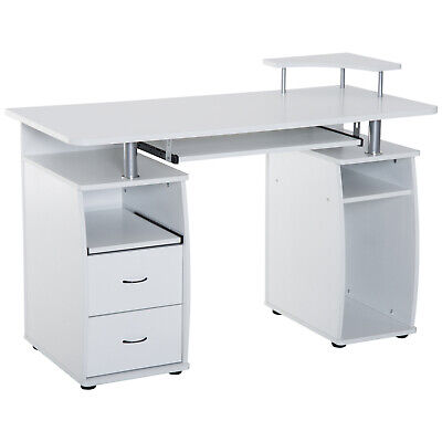 Computer Table PC Desktop Drawer Workstation Home Office Furniture White
