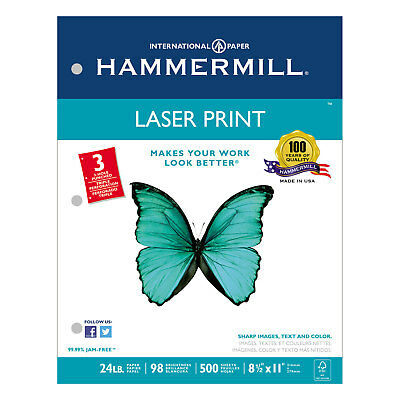 Hammermill Laser Print Office Paper 3-hole Punch 98 Brightness 24lb Ltr White