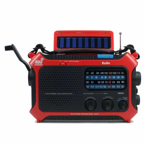 Kaito KA550 Portable Solar Hand Crank AM FM Shortwave & NOAA Weather Radio - Red