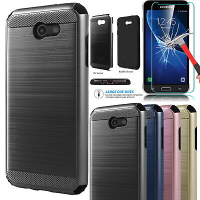 For Samsung Galaxy J3 Prime/Luna Pro/J3 Emerge Hybrid Case Cover +Tempered Glass