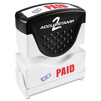 Accustamp2 Pre-Inked Shutter Stamp with Microban Red/Blue PAID 1 5/8 x 1/2