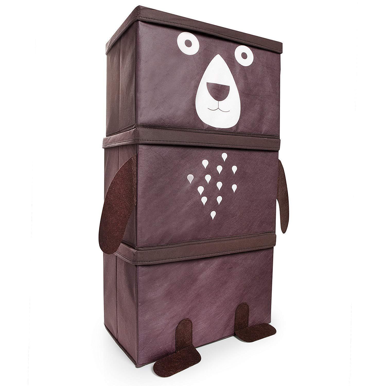 Kids Toy Storage Box Childrens Large 3 Stacking Bear Design