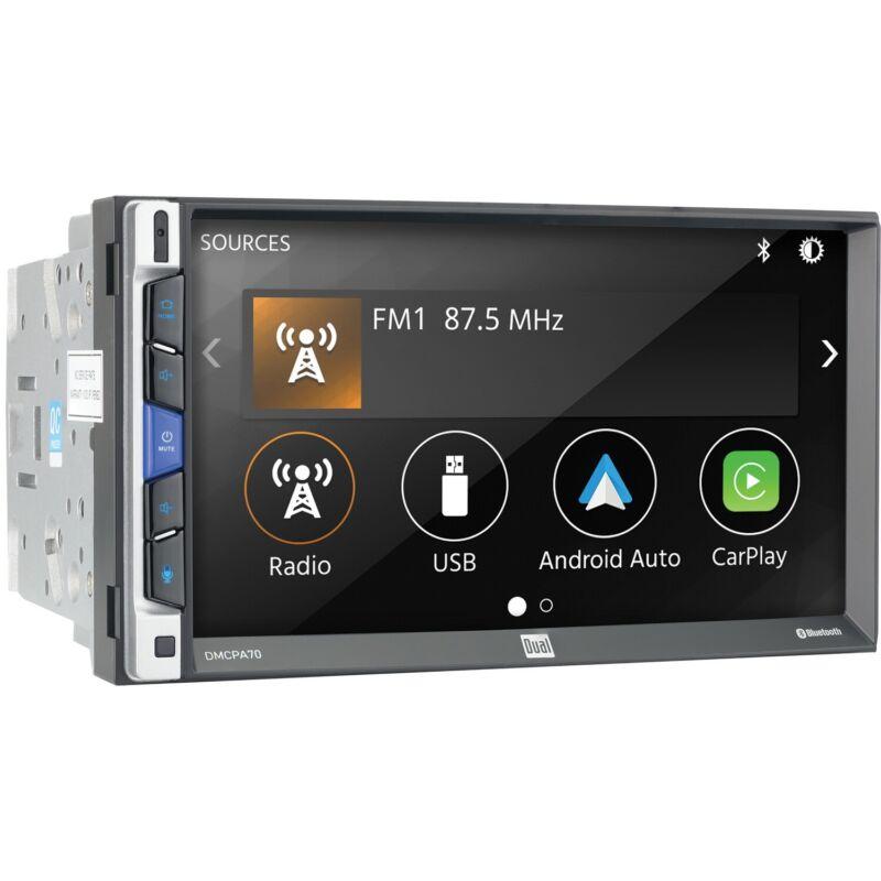 DUAL DMCPA70 2 Din Media Player CarPlay Android Auto USB Bluetooth Camera Input