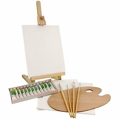 US Art Supply 21 Piece Acrylic Painting Set with Table Easel Canvas, 12 colors